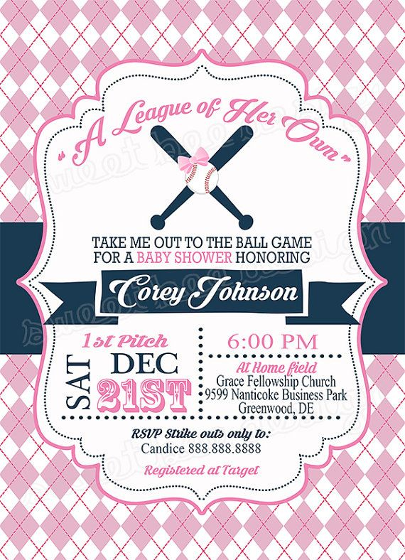 baseball baby shower invitation a league of her own sports baby shower invitation pink girl baseball theme baby shower