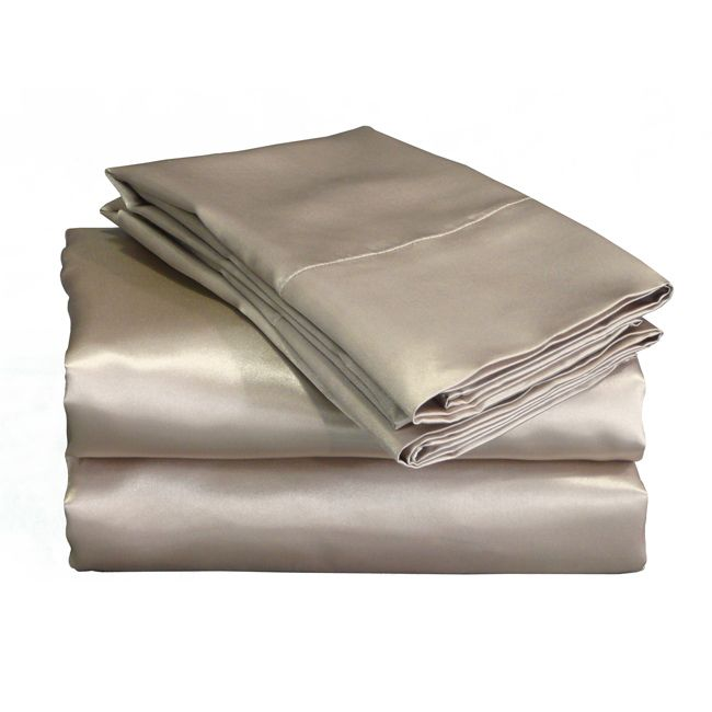 These luxurious Charmeuse satin sheets offer superior drape and a silky touch. These mocha satin sheets are like lingerie for your bed.
