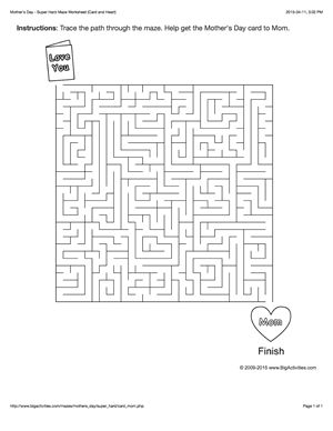 Mother's Day maze worksheet with a card and a heart. 4 levels of difficulty. Maze changes each time you visit