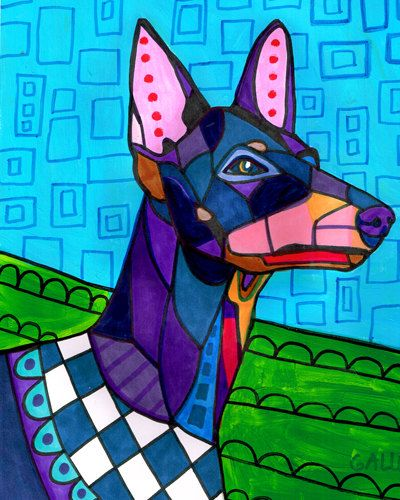 Manchester Terrier art dog HG602 by HeatherGallerArt on Etsy