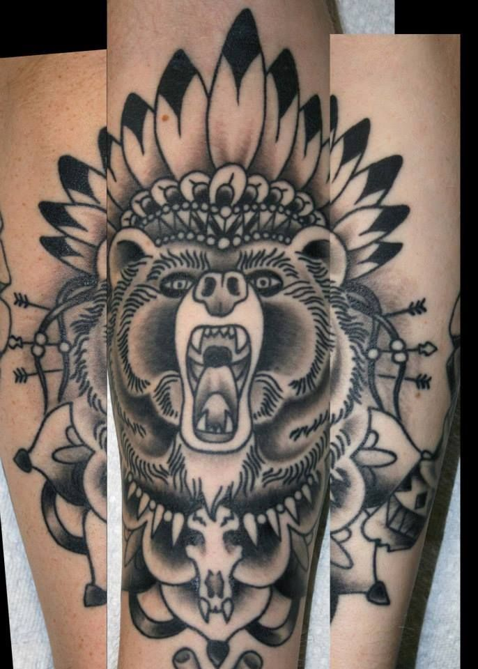 traditional indian bear custom tattoo design created by ann loaris lincoln ne ann loaris. Black Bedroom Furniture Sets. Home Design Ideas