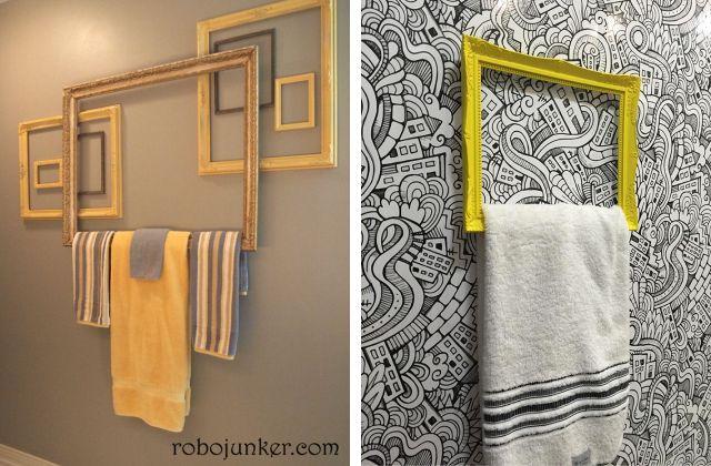 As molduras também podem se transformar em lindos porta-toalhas ;)