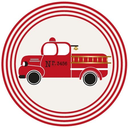 Vintage Fire Truck Party Sticker - #birthday #party #fire truck