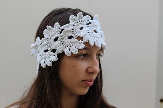Crochet Hair Garland : Crocheted Lace Garland Headband 1920s Flapper by ettygeller, $28.00 I ...