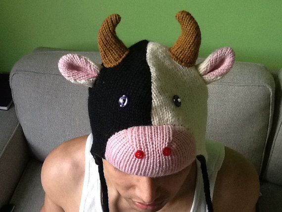 Funny knit cow hat