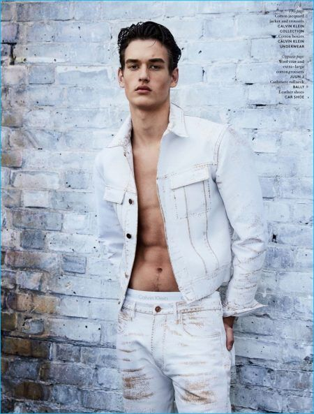 Jegor Venned sports a jacquard denim jacket and pants by Calvin Klein Collection with Calvin Klein underwear.