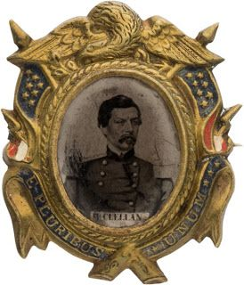 George McClellan Ferrotype Campaign Brooch, 1864. | In the Swan's Shadow