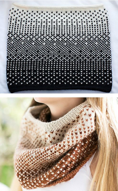 Knitting Pattern for Half-Tone Cowl - Stranded colorwork cowl with contrasting graphic pattern inspired by photo half-tones. Three different edging options: garter stitch, tubular rib, and icord. DK or worsted weight yarn. Designed by handmade by SMINÉ