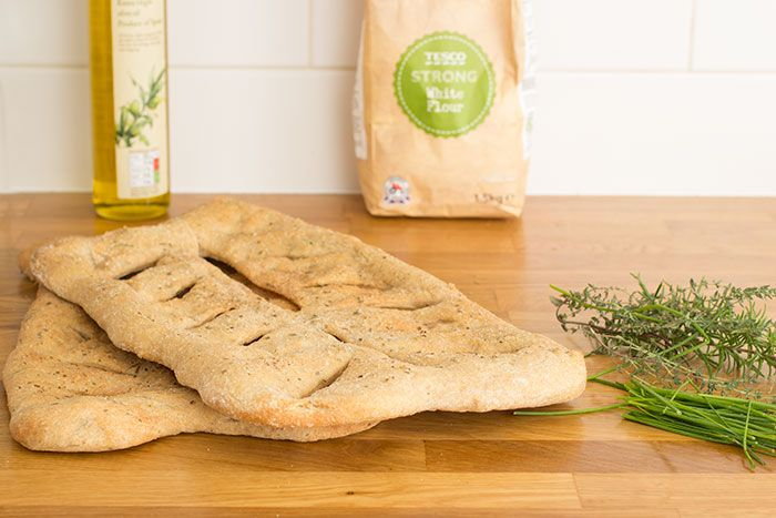 Recipe for Fougasse with fresh herbs from the garden, strong white and wholemeal flour and organic olive oil.