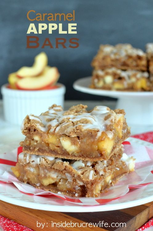 Caramel Apple Bars - these easy cake mix bars are full of caramel and apple and are amazing with a scoop of ice cream http://www.insidebrucr...