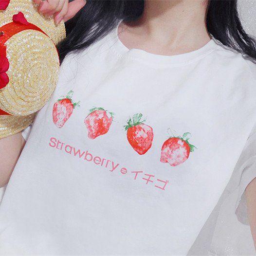 S-3XL Adorable Straweberry Tee Shirt SP167733