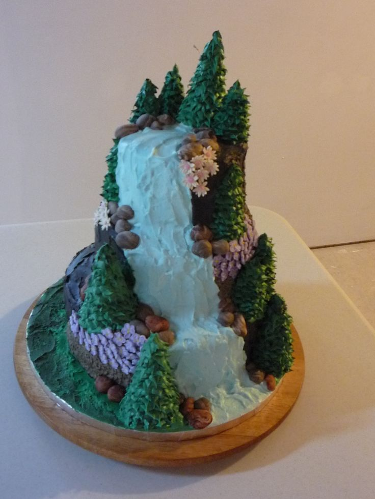 nature theme cake | Waterfalls Cake