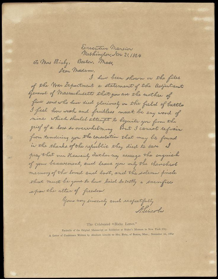 the bixby letter written by abraham lincoln
