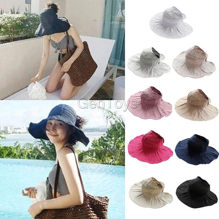 Women Visor Hat Summer Sun Beach Ladies Foldable Roll Up Wide Brim Cap
