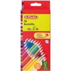 Herlitz 24 darabos háromszög alakú színes ceruza készlet - Színes ceruzák Ft Ár 1,099 Herlitz Trilino 6 darabos natúr háromszög alakú színes ceruza készlet  Natúr fából készült hegyezett, kiváló minőségű, vastag háromszög alakú színes ceruza készlet. A ceruzabél fa foglalata fenntartható és ellenőrzött erdőgazdálkodásból származik. A háromszög alakú színes ceruza készlet 6 különböző színes ceruzát tartalmaz. Jól fedő és ragyogó színek. A háromszög alakú színes ceruzák kiválóan hegyezhetők. A…