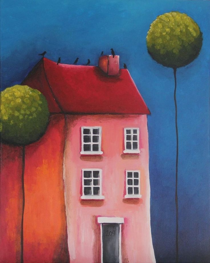 Original acrylic canvas painting whimsical modern landscape art pink house trees #Modernism