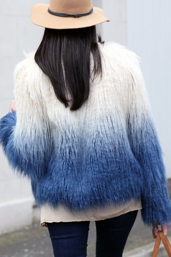 Pastorale jacket | ethical faux fur shaggy cropped coat in aqua and blue ombre