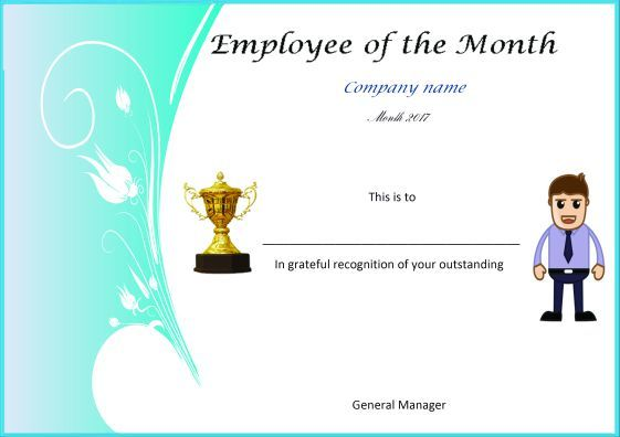 Employee Of The Month Poster Design Certificate Templates Funny Certificates Cover Letter Template