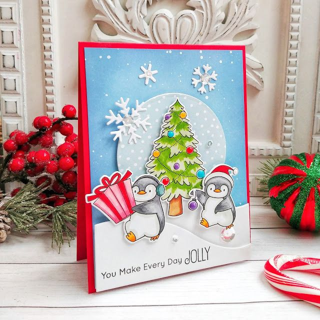 Stamps Bb Holiday Penguins Die Namics Pbb Holiday Penguins Snowy Hillside A2 Circle Stax Sweet Snowfla In 2020 Merry And Bright Christmas Cards Christmas Projects