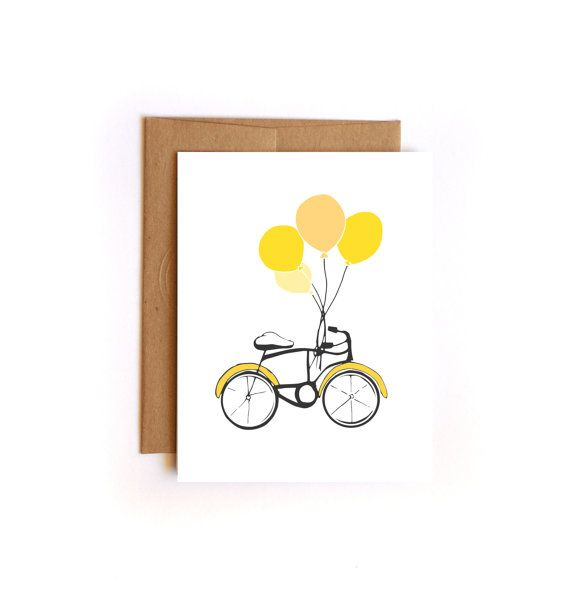 Happy Birthday Card Balloons and Bicycle  Hand by Floating Specks, $4.50