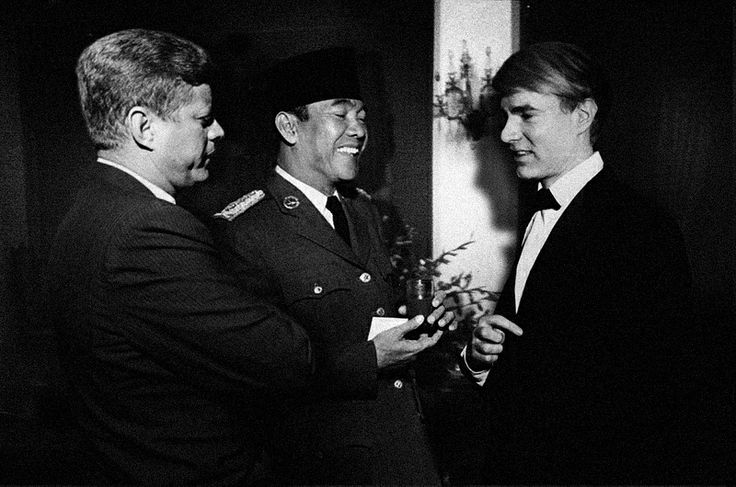 JFK, Soekarno and young Andy Warhol