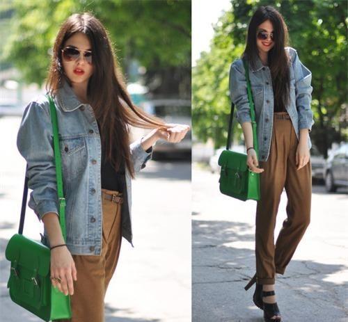 Mix áo khoác Jean dạo phố sành điệu như các fashionista