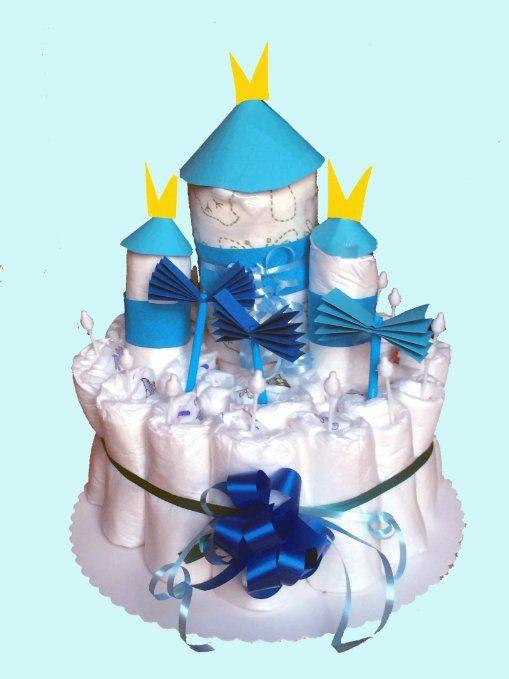 """Windeltorte Junge """" Burg"""" - Das perfekte Geschenk zur Geburt oder Taufe für einen kleinen Prinzen"""