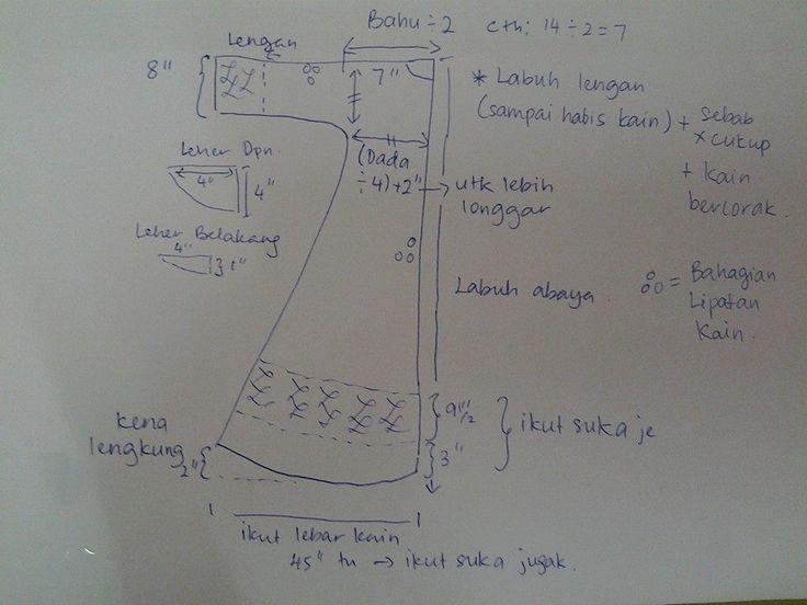pola abaya simple (simple long tunic), guna kain bidang 45 inci - oleh Dila Aris
