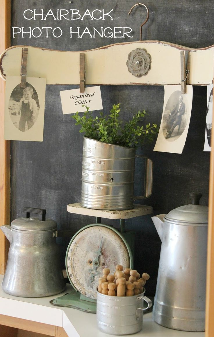 Clothes Hanger & Chair Back Photo Display www.organizedclutter.net