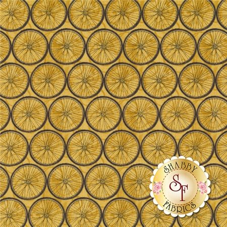 A Ticket In Hand 42391-559 Wheel Grid Gold by Cynthia Coulter for Wilmington Prints