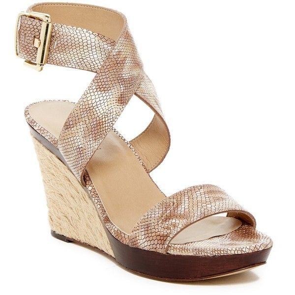 VANELi Dandy Snake Embossed Wedge Sandal (150 SAR) ❤ liked on Polyvore featuring shoes, sandals, cameldarry, braided sandals, vaneli sandals, open toe wedge sandals, ankle wrap sandals and woven wedge sandals