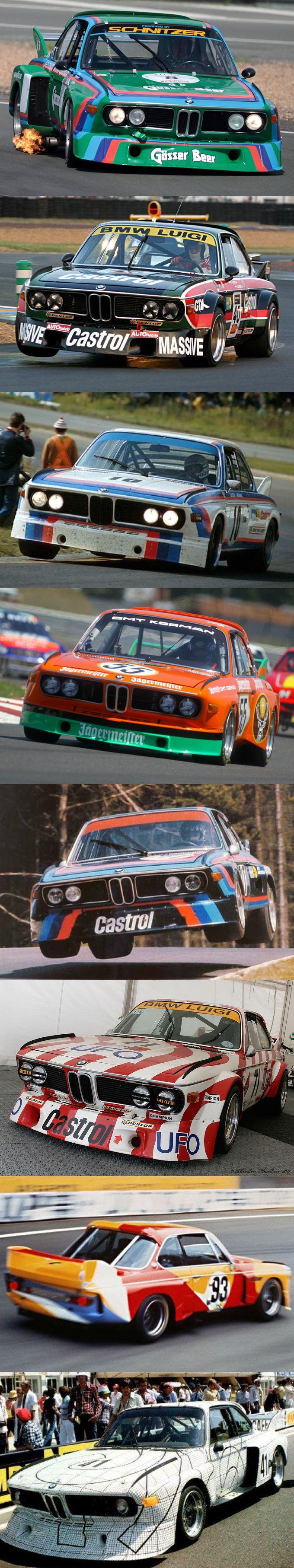 1973 BMW CSL group 5 liveries / 'Batmobile' / Gösser Beer / Luigi Castrol / Motorsport /  Jägermeister / Castrol / Luigi / Calder / Stella / Germany