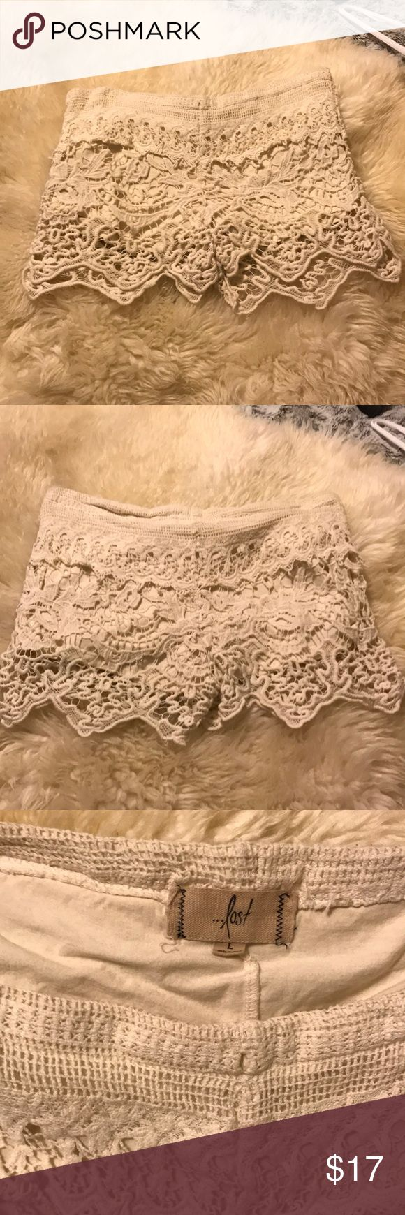 Lost Cream Lace Shorts These are beautifully designed! Have been worn about 4-5 times Lost Shorts Skorts