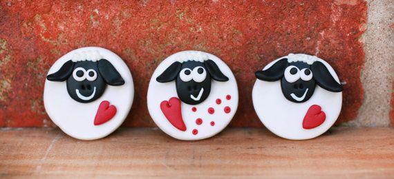 Handmade magnet - little sheep with heart -  £3.55
