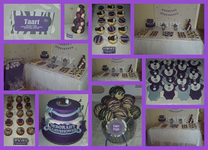Babyshower paars/zebra dessert table