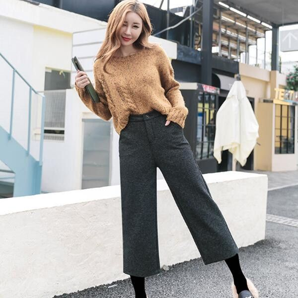 ラシャガウチョパンツ レディース服ファッション秋冬 女性 カジュアル 体型カバーゆったり穿き心地 肌触りいいロングパンツ 韓国ファッション