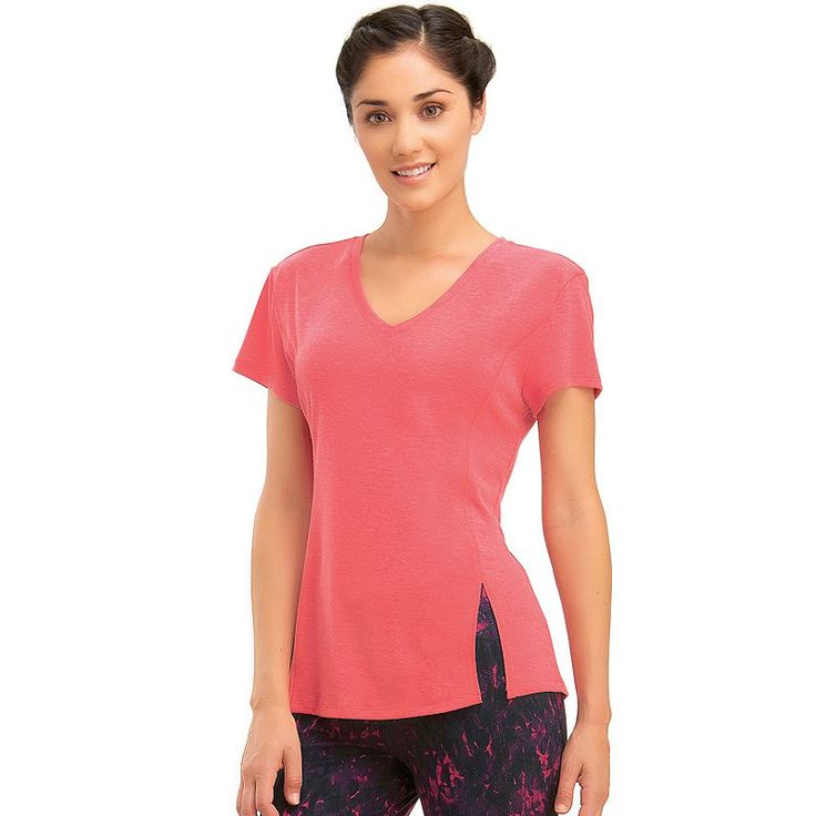 Women's Marika V-Neck Vented Workout Tee, Size: Medium, Med Red