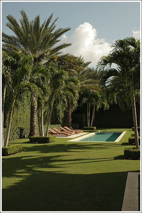 Simply serene. This space is about quiet surroundings and lets the pool be an accent.