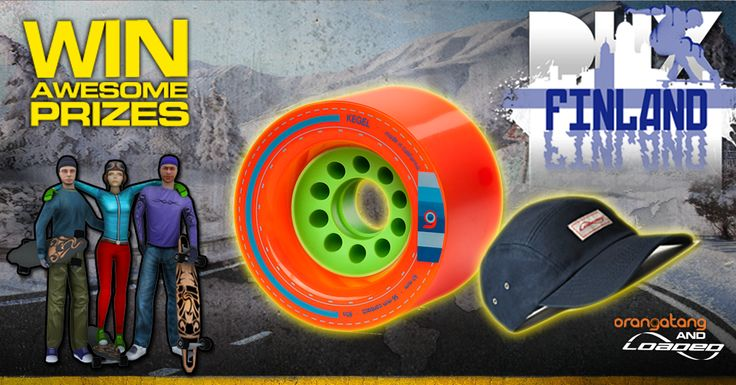 Only 2 weeks left of the #Loaded #Boards and #Downhill Xtreme World Tour.  Sign up each week and #win COOL prizes, this week you could WIN some #Orangatang Wheels Kegels and another snazzy hat!  Sign up for #Finland http://bit.ly/finlandsignup #Race in #game http://fnky.link/dhx  Full info here http://www.distinctivegames.com/news/post/downhill-xtreme-and-loaded-boards-competition