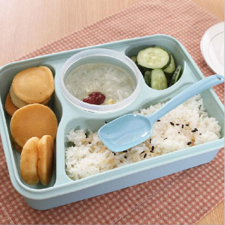 Hot Sale 4+1 Food Container Storage Box Single Children Lunch Box With Spoon Portable Microwave Bento Lunch Box for Kids