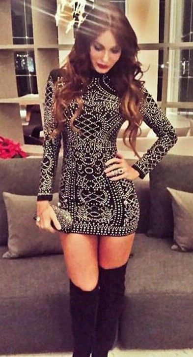 ea2cf3c2b5c8 beautiful outfit glitter dress and black over knee boots  GlitterFashion