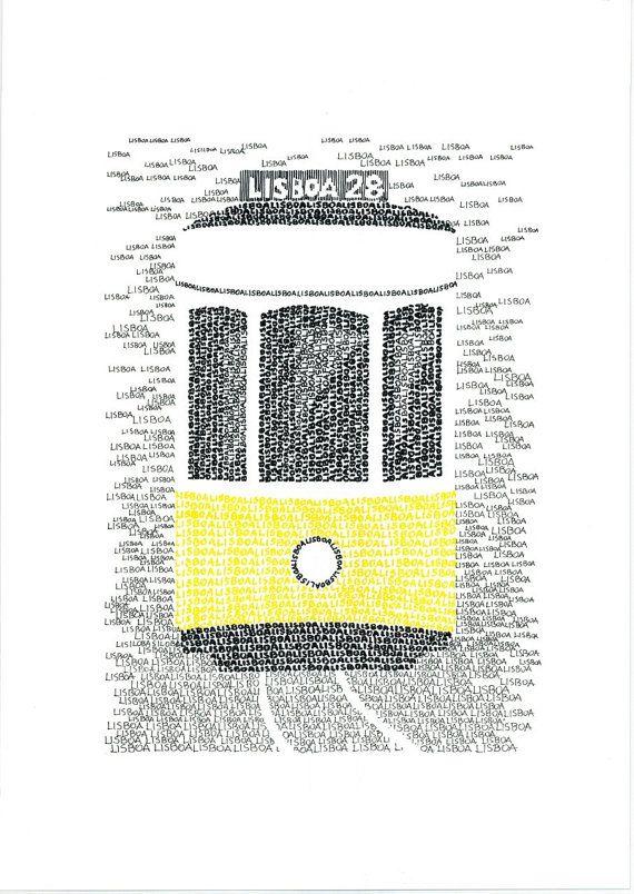 LISBON Typographic Art Print/handwritten by Yantree on Etsy, $31.00