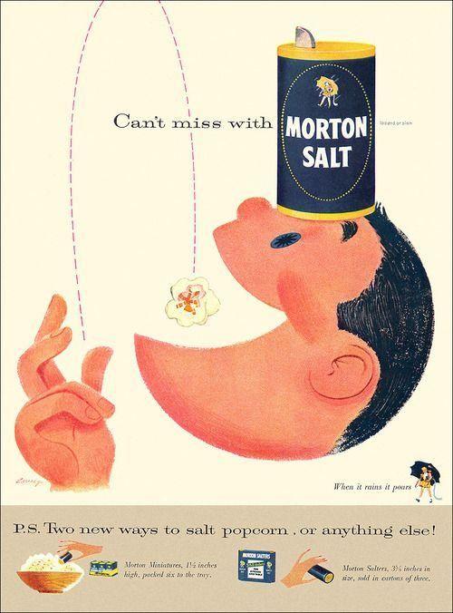 Morton Salt 1956 #vintageads #Ads #vintage #PrintAd #tvads #advertising #BrandScience #influence #online #Facebook #submissions #marketing #advertising