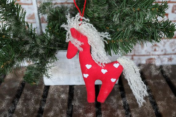 Horse. Plush toy horse. Children soft eco toy horse. Red and
