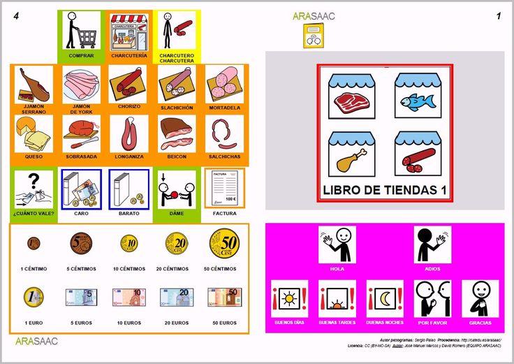 Libro de comunicación aumentativa y alternativa sobre las tiendas (1), Autores: J. M. Marcos y D. Romero. Pictogramas ARASAAC, elaborados por Sergio Palao.