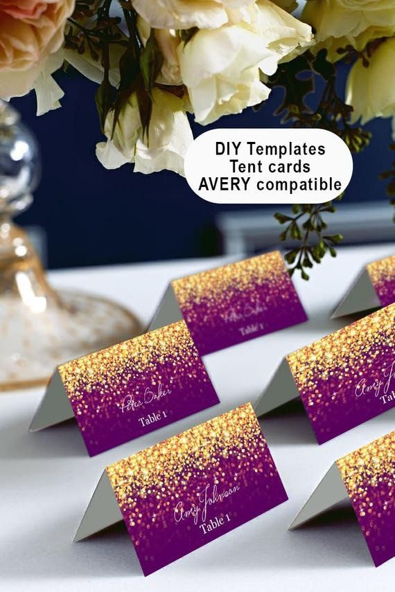 Avery Tent Cards Templates 5302 Awesome Gold And Purple Place Cards Tents Microsoft Word Aver Purple And Gold Wedding Purple And Gold Wedding Themes Tent Cards