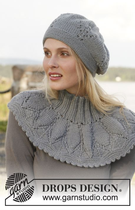 """Set consists of: Knitted DROPS neck warmer and hat with lace pattern in """"Lima"""". ~ DROPS Design"""