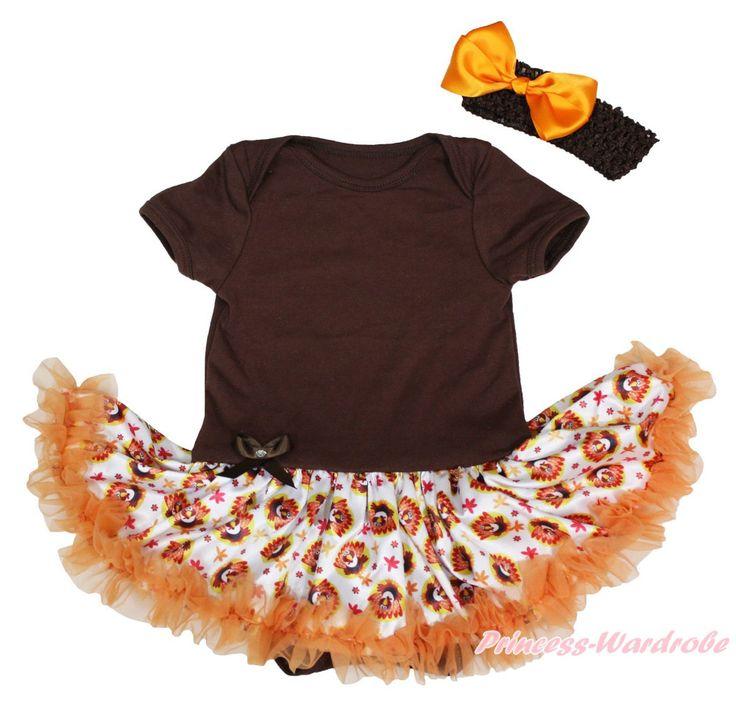 Обычная благодарения коричневый комбинезон девушки турция детское платье наряд комплект нб-18month