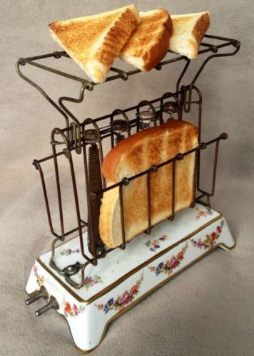 Antique Toaster: General Electric D-12 w/ Rare Floral Base & HTF Rack, ca.1915. Realized 290.00 3/11/14.