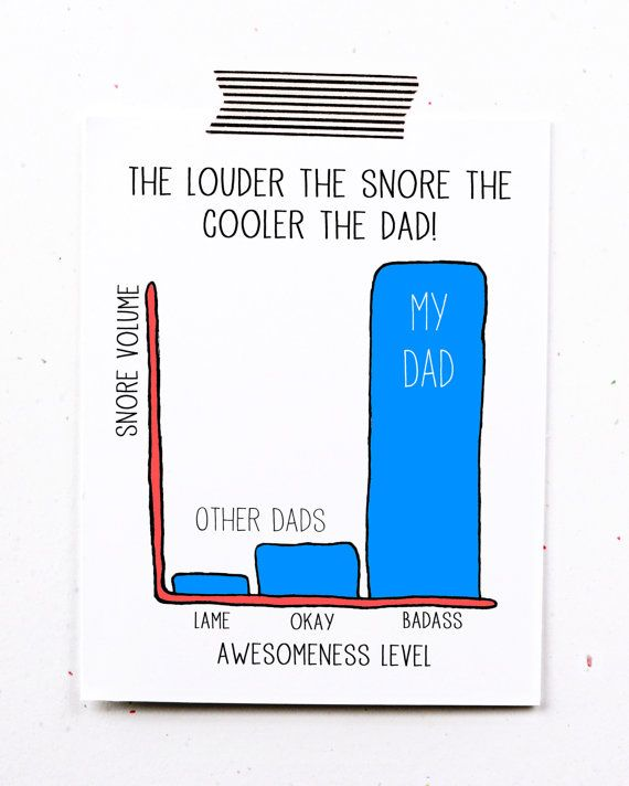Funny fathers day greeting card dad birthday snores by LittleSloth, $4.00...